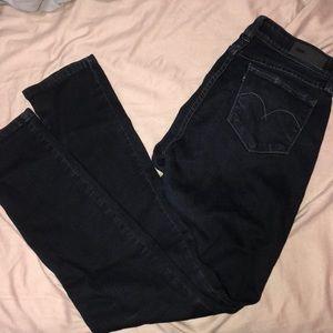 Women's skinny dark blue jeans